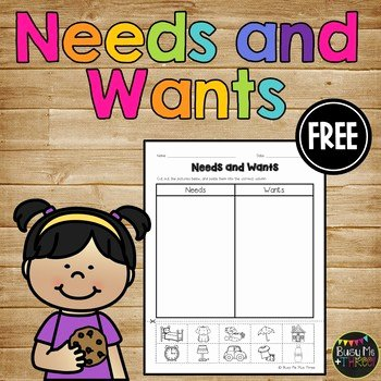 Wants and Needs Worksheet Fresh Needs and Wants Cut and Paste Worksheet for K 1 and 2