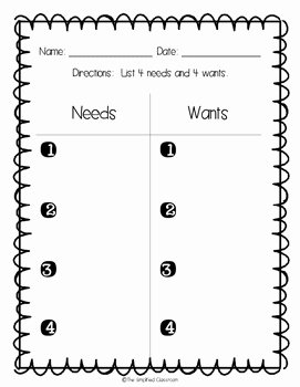 Wants and Needs Worksheet Fresh Needs Vs Wants Color In Worksheet and Anchor Chart