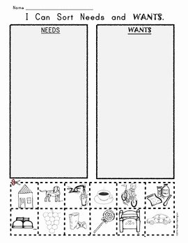 Wants and Needs Worksheet Lovely I Can sort Needs and Wants Picture Worksheet by Class Of