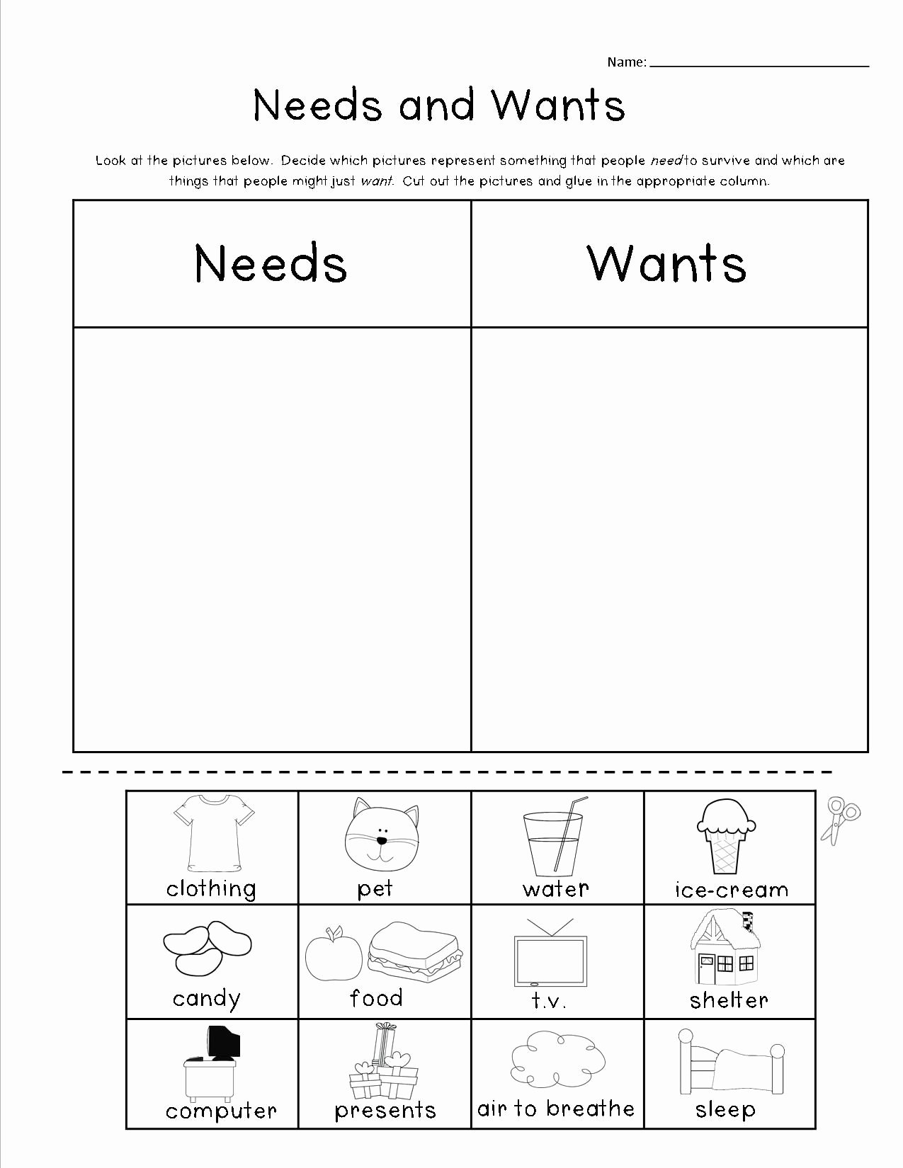 Wants and Needs Worksheet Luxury Cut and Paste Needs and Wants Includes A Cut and Paste