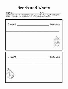 Wants and Needs Worksheet Luxury Here S A Cut and Past Activity to Help Students Learn the