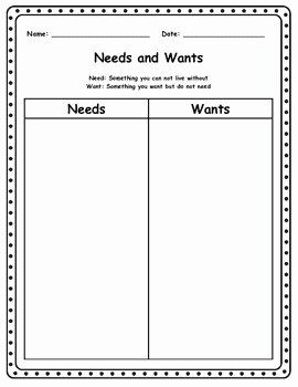 Wants and Needs Worksheet New Needs and Wants Worksheet by the Teacher Mommy Blog