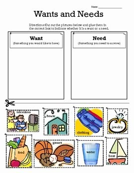 Wants and Needs Worksheet New Wants Vs Needs sort Primary