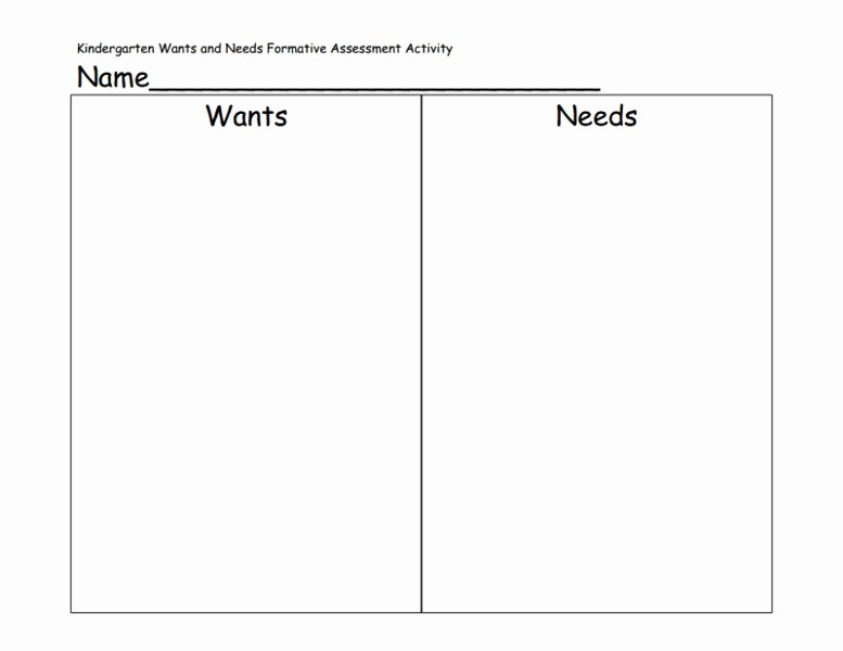 Wants Vs Needs Worksheet Beautiful Kindergarten Wants and Needs formative assessment Activity