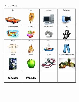 Wants Vs Needs Worksheet Beautiful Needs and Wants Picture sort by Kristen Campbell