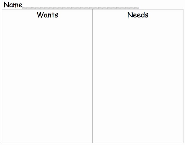 Wants Vs Needs Worksheet Beautiful Needs and Wants Worksheet
