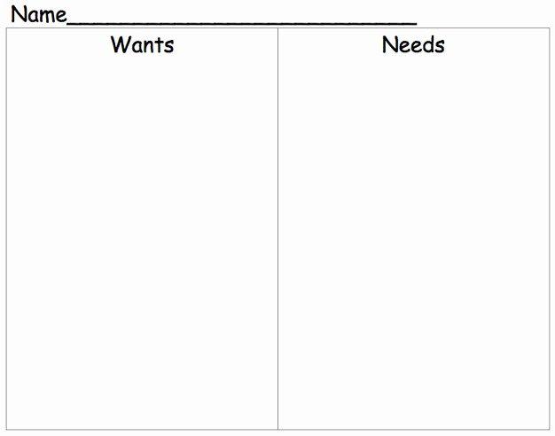Wants Vs Needs Worksheet Beautiful Needs and Wants Worksheet