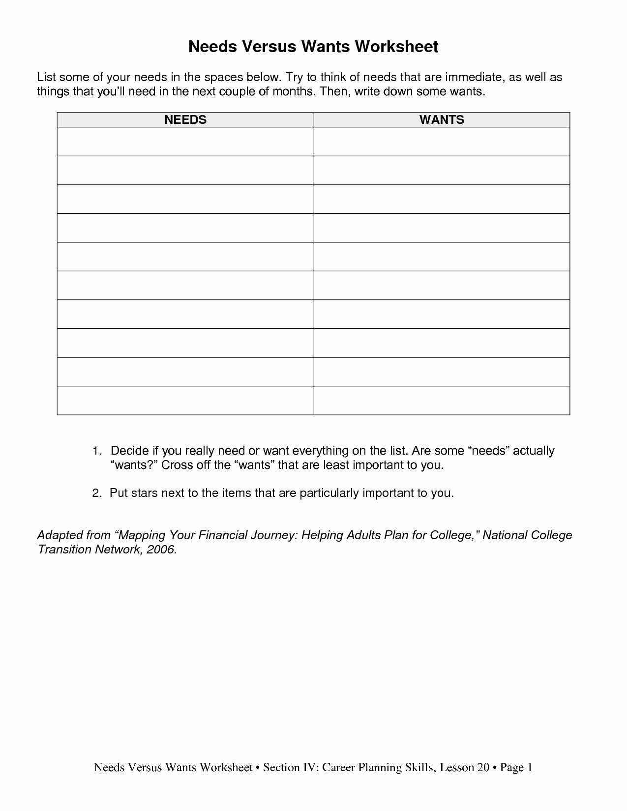 Wants Vs Needs Worksheet Elegant 13 Best Of Worksheets Identifying Wants and Needs