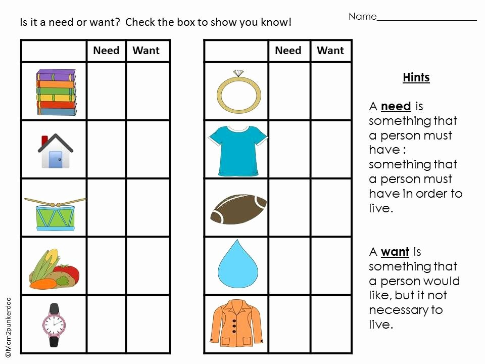 Wants Vs Needs Worksheet Elegant Needs and Wants Goods and Services Activities for Personal