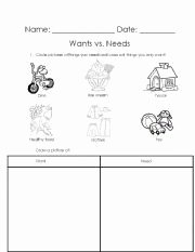 Wants Vs Needs Worksheet Fresh Needs and Wants sort Worksheet