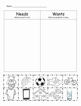 Wants Vs Needs Worksheet Fresh Needs Vs Wants sort by Bethany Hayes