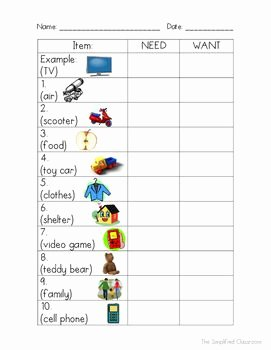 Wants Vs Needs Worksheet Luxury Needs Vs Wants Color In Worksheet and Anchor Chart