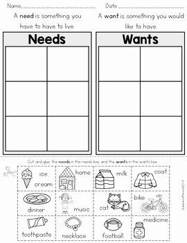 Wants Vs Needs Worksheet New Needs Versus Wants sort Cut and Paste by