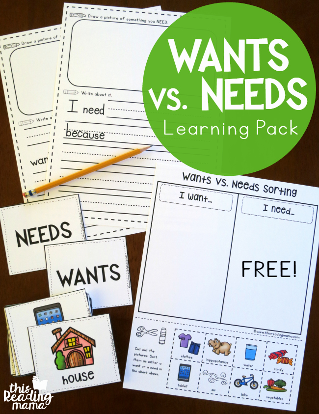 Wants Vs Needs Worksheet New Wants Vs Needs Learning Pack Free