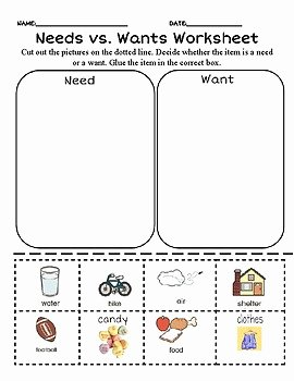 Wants Vs Needs Worksheet Unique Need Vs Wants sort Worksheet by Presentlyinprek