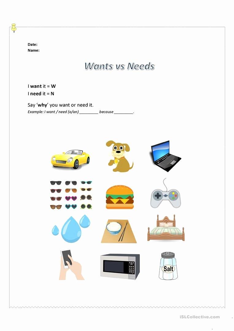 Wants Vs Needs Worksheet Unique Speaking Activity Wants Vs Needs Worksheet Free Esl