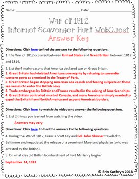 War Of 1812 Worksheet Awesome War Of 1812 Interactive Internet Scavenger Hunt Webquest