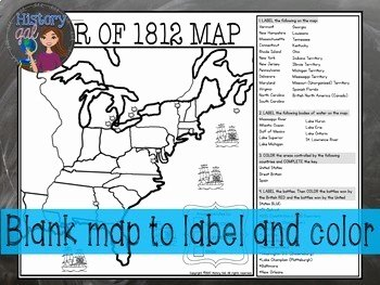 War Of 1812 Worksheet Beautiful War Of 1812 Map Activity by History Gal