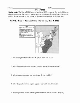 War Of 1812 Worksheet Best Of War Of 1812 Map and Chart Worksheet and Answer Key by Jmr