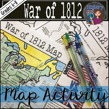 War Of 1812 Worksheet Elegant War Of 1812 Map Activity by History Gal