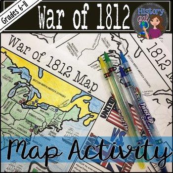 War Of 1812 Worksheet Elegant War Of 1812 Map Activity by History Gal