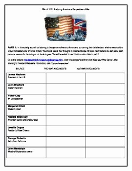 War Of 1812 Worksheet Fresh War Of 1812 Analyzing Different Perspectives with Mon
