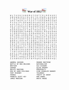 War Of 1812 Worksheet Inspirational War Of 1812 Word Search by Cabin Boy