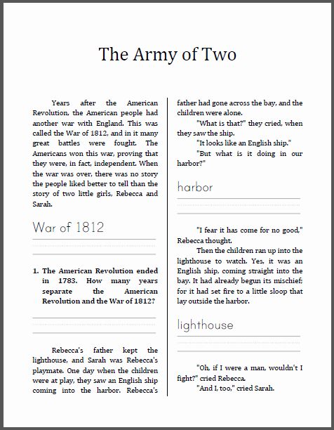 War Of 1812 Worksheet Lovely Army Of Two the War Of 1812 History Workbook for Lower