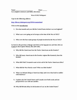 War Of 1812 Worksheet Lovely War Of 1812 Webquest Worksheet