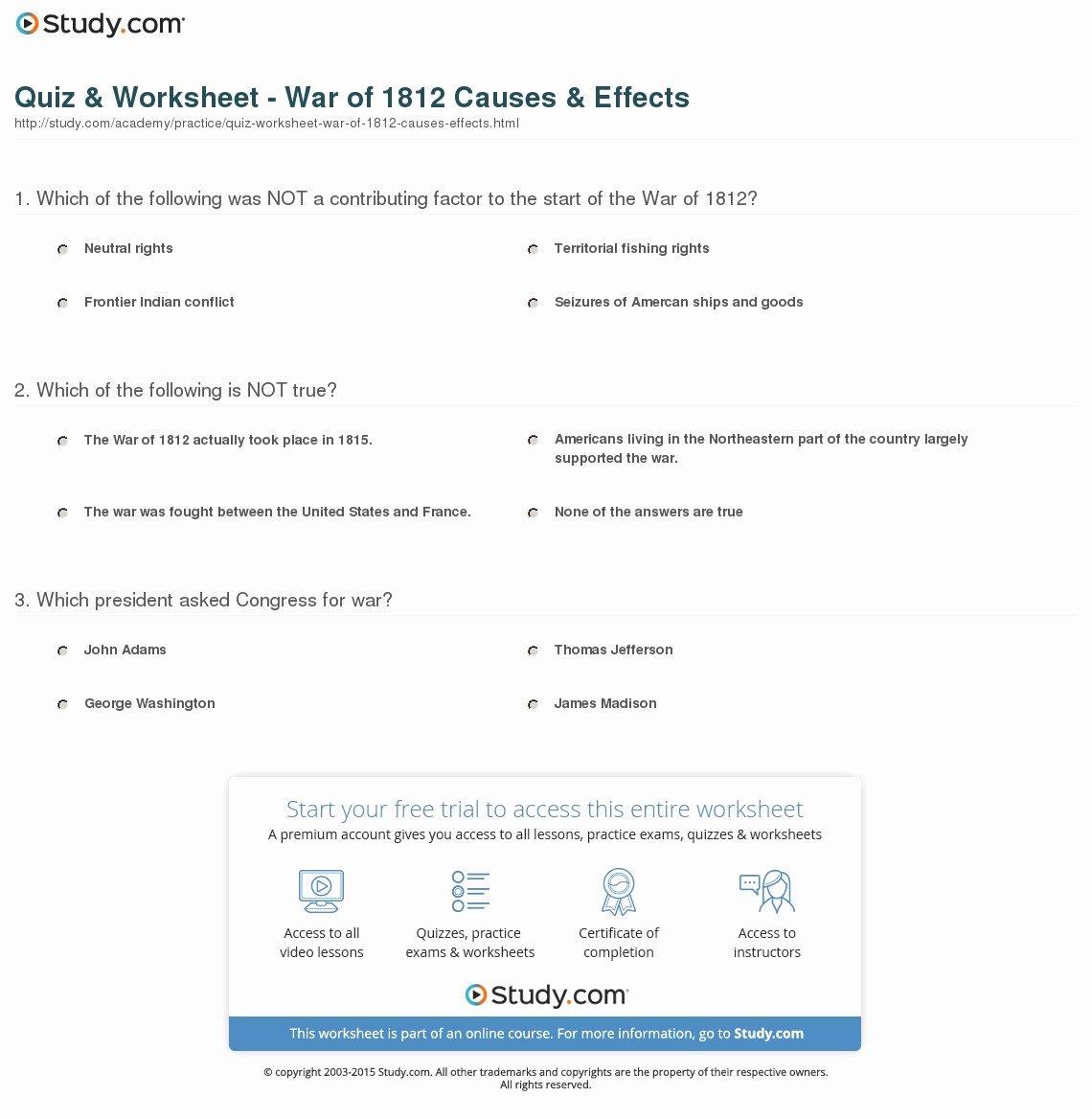 War Of 1812 Worksheet Luxury Quiz & Worksheet War Of 1812 Causes & Effects