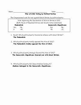 War Of 1812 Worksheet Luxury War Of 1812 Map and Chart Worksheet and Answer Key by Jmr