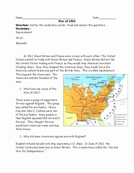 War Of 1812 Worksheet Unique War Of 1812 Reading and Questions Worksheet with Answer