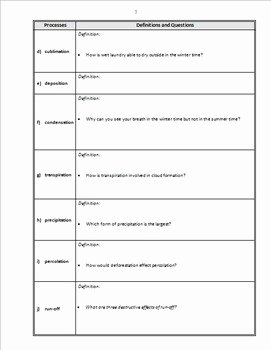 Water Cycle Worksheet Answer Key Elegant the Water Cycle Powerpoint Worksheet Editable by