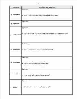Water Cycle Worksheet Answer Key Elegant the Water Cycle Powerpoint Worksheet Editable by