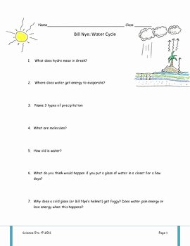 Water Cycle Worksheet Answer Key Unique Bill Nye Water Cycle Video Worksheet by Science Etc