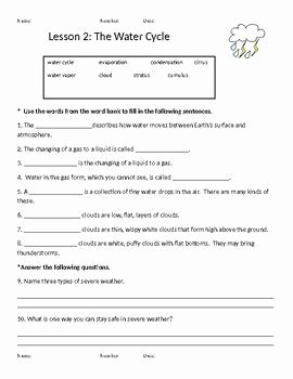Water Cycle Worksheet Middle School Beautiful Macmillan Mcgraw Hill 3rd Grade Science Weather Water