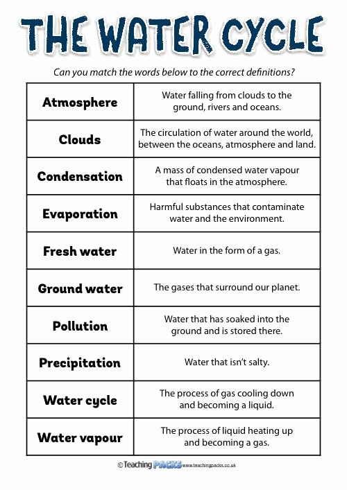 Water Cycle Worksheet Middle School Beautiful the Water Cycle Mini Pack Test Prep