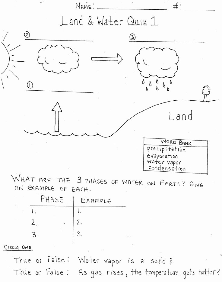 Water Cycle Worksheet Middle School Lovely Water Cycle Worksheets for 3rd Grade