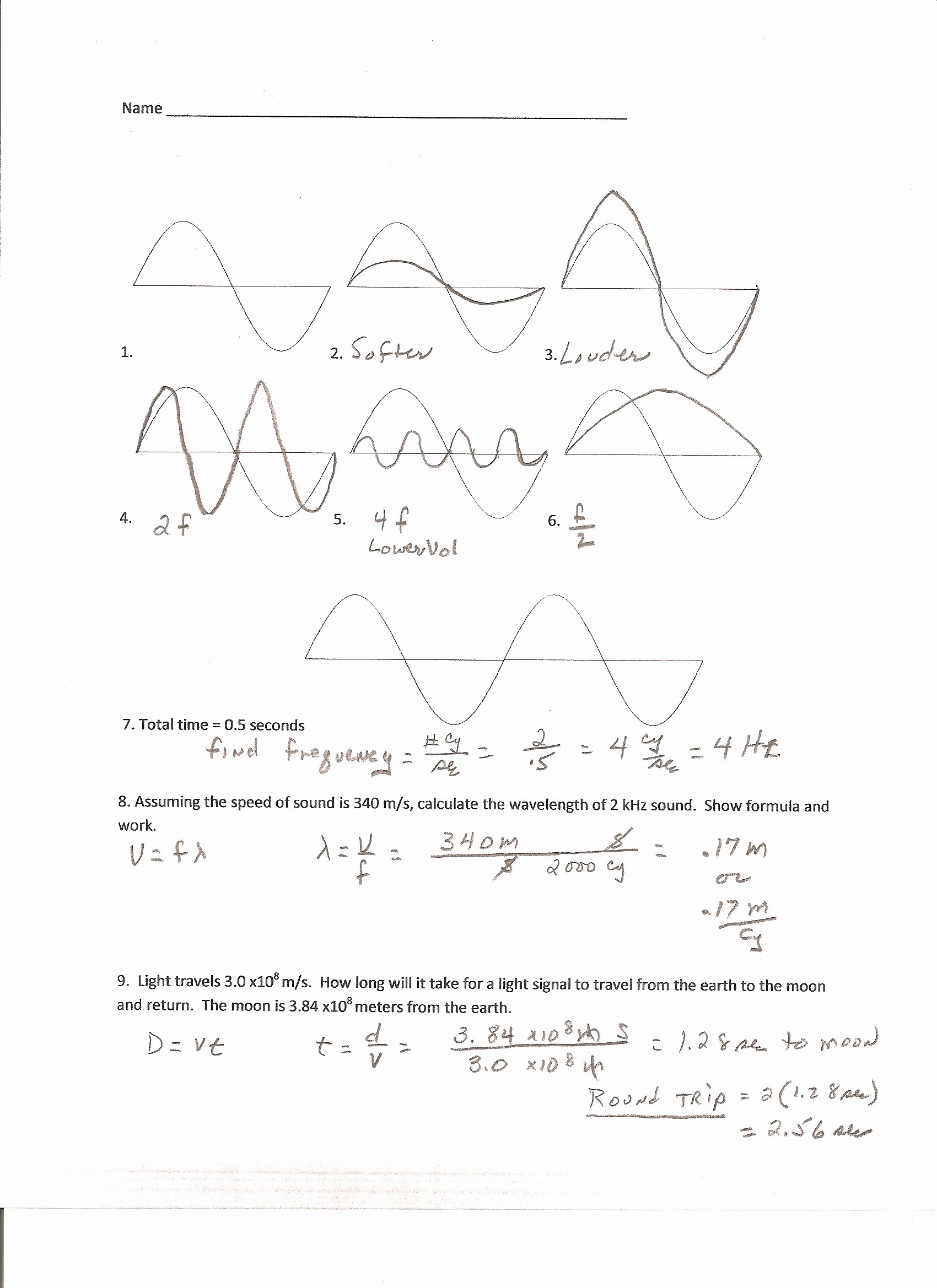 Wave Review Worksheet Answer Key Inspirational Worksheet Properties Waves Worksheet Grass Fedjp