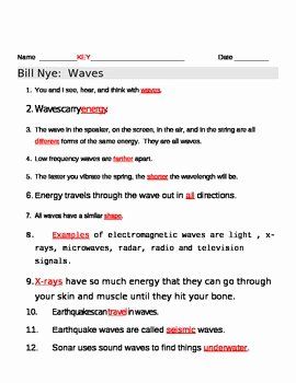Wave Worksheet Answer Key Beautiful Bill Nye Waves Video Worksheet by Jjms