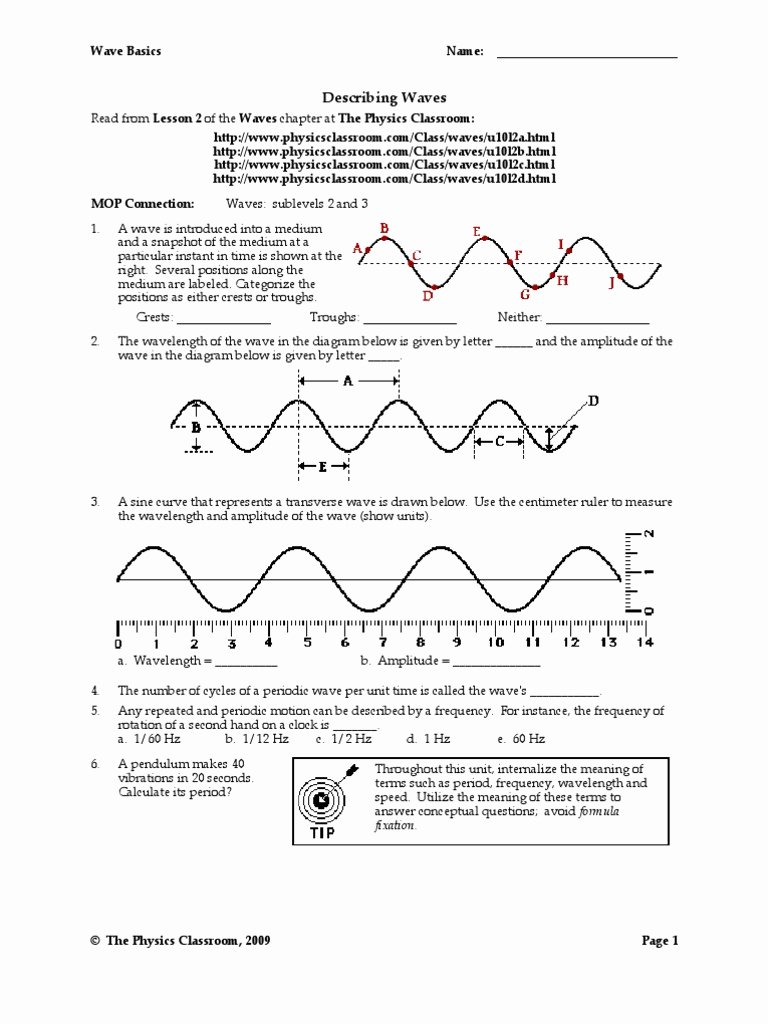 Wave Worksheet Answer Key Elegant Wave Basics Worksheet Answers