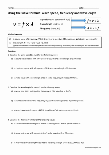 Wave Worksheet Answer Key Unique Gcse Physics Wave Speed Equation Practice Wavespeed