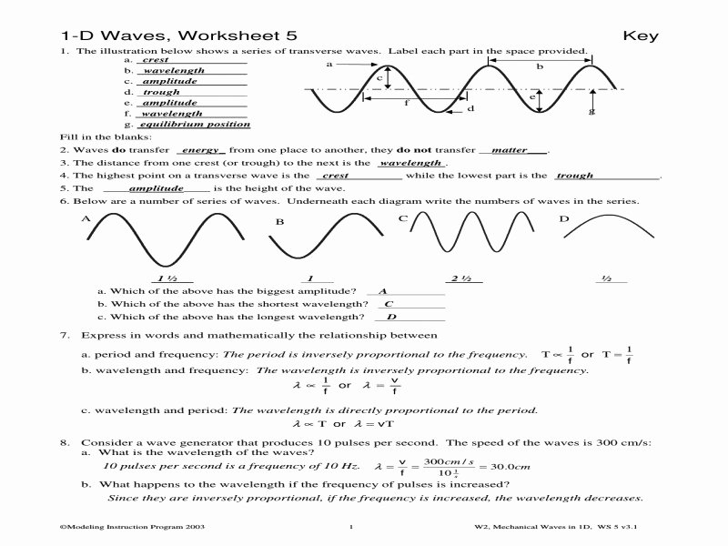 Waves Review Worksheet Answer Key New Wave Worksheet 1 Answers Free Printable Worksheets