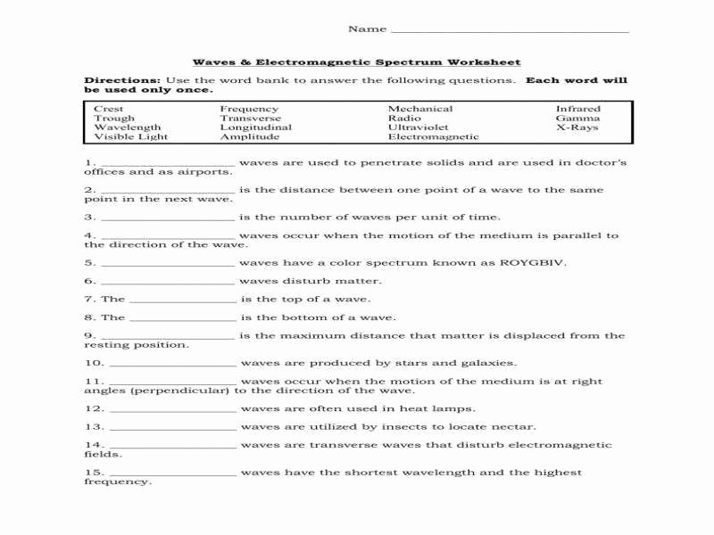Waves Worksheet 1 Answers Beautiful Waves and Electromagnetic Spectrum Worksheet Answers