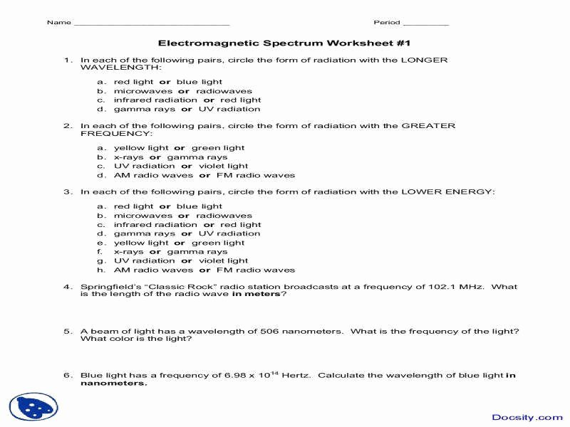 Waves Worksheet 1 Answers Fresh Electromagnetic Spectrum Worksheet