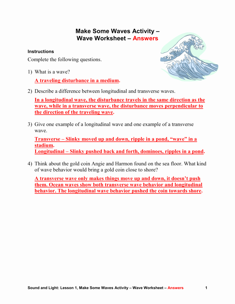 Waves Worksheet 1 Answers Inspirational Wave Worksheet Answers