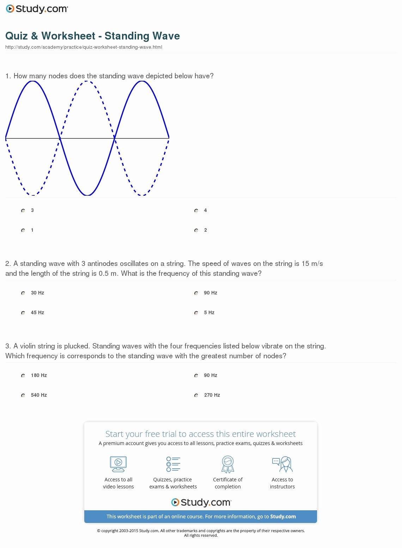 quiz worksheet standing wave