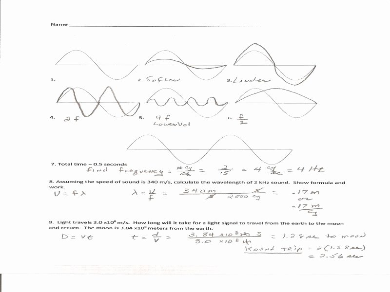 Waves Worksheet 1 Answers Unique Wave Worksheet 1 Answers Free Printable Worksheets