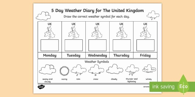 Weather Map Symbols Worksheet Fresh 5 Day Weather Diary for the United Kingdom Worksheet