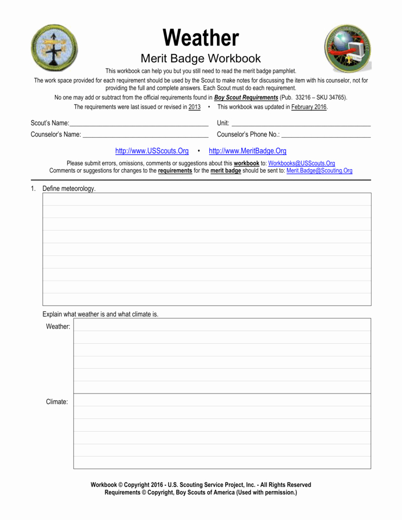 Weather Merit Badge Worksheet Best Of Weather Us Scouting Service Project